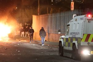 File photo dated 18/04/2019 of petrol bombs being thrown at police in Creggan, Londonderry. PRESS ASSOCIATION Photo.  Photo credit: Niall Carson/PA Wire