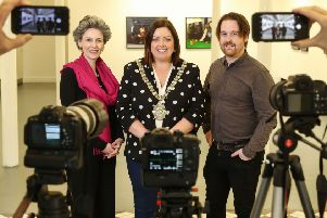 Pictured (L-R) launching the 2019 Belfast Photo Festival are Suzanne Lyle, Head of Visual Arts, Arts Council of Northern Ireland; Belfast Lord Mayor, Councillor Deirdre Hargey and Michael Weir, Belfast Photo Festival Director.