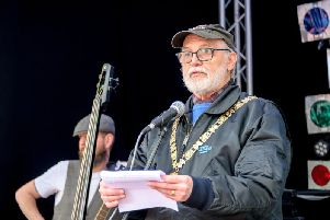 Cllr Lewis at Rugby Bikefest - one of his first public appearances as Rugby's mayor. Photo: Mike Baker.