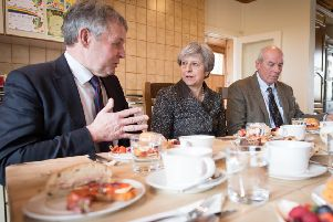 Prime Minister Theresa May having lunch with farmers at Fairview Farm in Bangor, Northern Ireland during a tour of the four nations of the UK, on March 29, 2018. This was one of a number of dates when Ben Lowry interviewed her for the News Letter: Stefan Rousseau/PA Wire