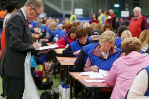 Counting begins at Meadowbank Leisure Centre in Magherafelt for Northern Ireland's European Parliament Election vote.  Three MEPs can be returned for Northern Ireland. ''Picture by Jonathan Porter/PressEye