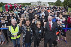 Participants in last year's March for Men at Stormont, with then mayor Councillor Deirdre Hargey