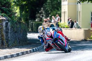 Peter Hickman on his way to victory in the Superstock TT on Thursday.