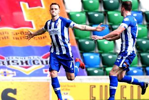 Darren McCauley celebrates his goal in the 2018 Irish Cup Final.