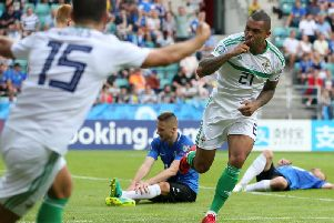 Josh Magennis celebrates scoring for Northern Ireland against Estonia