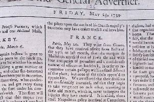The front page of the Belfast News Letter of May 25 1739 (which is June 5 in the modern calendar)