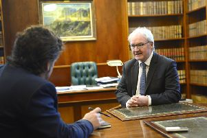 The Lord Chief Justice of Northern Ireland, Sir Declan Morgan, right, pictured at his office in Belfast High Court talking to Ben Lowry.'Picture by Arthur Allison/Pacemaker Press