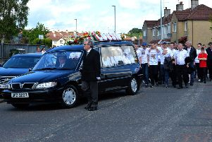 The funeral procession for Caoimhin Cassidy-Crossan  arrives at St Mary's Church, Creggan, for Requiem Mass on Friday afternoon last. The 18-year-old was found dead in a car in Gallaigh on the 1st June last. DER2319GS-032