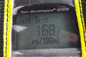 Breath test of 168 recorded