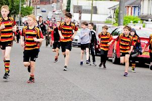 At the Lurgan Tigers Rugby-St Peter's GAA Run4Lurgan event on Friday.
