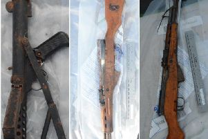 Weapons. A submachine gun and two assault rifles seized in Derry on Tuesday.