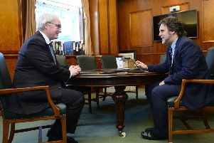 The Lord Chief Justice of Northern Ireland Sir Declan Morgan pictured at his office in Belfast High Court, being interviewed by Ben Lowry. 'Picture by Arthur Allison/Pacemaker Press