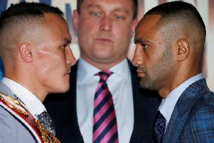 Josh Warrington and Kid Galahad go face to face at yesterday's press conference in Leeds