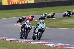 Alastair Seeley (EHA Yamaha) leads Jack Kennedy (Integro Yamaha) in the British Supersport Sprint race at Brands Hatch on Saturday. Picture: David Yeomans Photography.