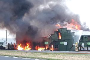 Firefighters battle the blaze at JP Corry, Ballymena. Pic: Pacemaker