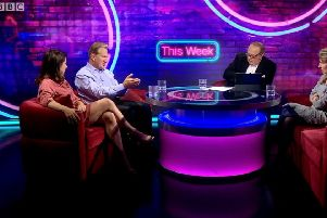 Michael Portillo, second from left, outlines his suggestion for a Northern Ireland referendum on a Northern Ireland-only backstop on the BBC programme This Week, with, from left, Liz Kendall MP, the host Andrew Neill, and the commentator Miranda Green