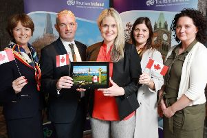 REPRO FREE'11/06/2019, Belfast ' Canada offers significant potential for Northern Ireland tourism, according to new research unveiled in Belfast by Tourism Ireland today. The Canadian market has performed strongly for tourism to Northern Ireland in recent years. In 2018, almost 66,000 Canadians visited Northern Ireland (+8% on 2017), spending almost �19 million. In fact, Canada was the fourth largest overseas tourism market for Northern Ireland in 2018 ' in terms of visitors, holidaymakers and spend. Tourism Ireland undertook research of the Canadian market this spring, which examined the profile of our current Canadian holidaymakers. It also identified the opportunities and challenges which will drive growth from Canada to Northern Ireland over the coming years.'PIC SHOWS: Alison Metcalfe, Tourism Ireland's Head of North America; Odhran Dunne, Visit Derry; Dana Welch, Tourism Ireland's Manager Canada; Aisling McCallion and Orla Rafferty, both Derry City & Strabane District Council, at the launch of Tourism