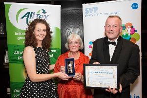 Pictured at the 2019 SVP National Shops Awards ceremony in the University of Limerick is Margaret Sweeney, SVP Derry, receiving the award from Area Manager for SVP in Northern Ireland, Anne Crossan, and SVP National Retail Development Manager, Dermot McGilloway.