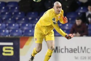 Former Derry City goalkeeper Gerard Doherty on show for Crusaders. Pic by Pacemaker.