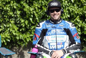 English rider Daley Mathison pictured before the start of the ill-fated Superbike race at this year's Isle of Man TT.