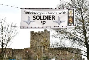 Banners supporting Soldier F have gone up in towns around Northern Ireland, such as this one in Carrickfergus