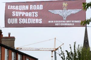 One of the banners carrying the Parachute Regiment insignia was erected across the Lisburn Road in south Belfast. Pic: Press Eye