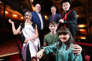 Pictured (left to right) Jasmine Mirfield as Tallulah from Bugsy Malone; Ian Wilson, Chief Executive of the Grand Opera House; Michael McKinstry, Chief Executive Officer of Phoenix Natural Gas; Robbie McMinn as Bugsy Malone, Nathan Johnston as Chris from Miss Saigon School Edition and Niamh McAuley as Kim from Miss Saigon School Edition.