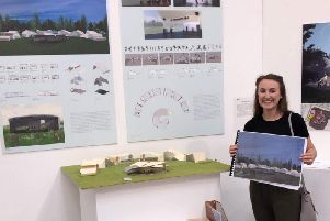 Danielle Bailey with her plans for the new dance rehearsal space in Aylesbury