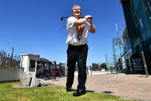 Deputy Grand Master Harold Henning at the launch of a new leaflet  for the 12th of July parades ahead  the Open Golf tournament  in Portrush, encouraging visitors to watch the parades.