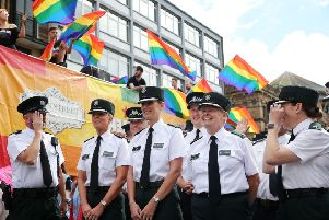 Members of the PSNI and the Garda join thousands of people as they take part in the annual Belfast Pride event in Belfast city centre.''Photo by Kelvin Boyes / Press Eye.
