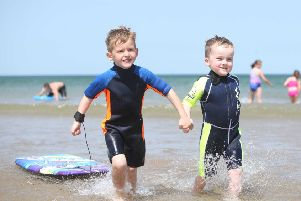 28/06/19 McAuley Multimedia.. Children enjoy the glorious weather on Portstewart Strand on Friday. Pic Steven McAuley/McAuley Multimedia