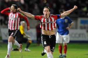 Derry City's Barry Molloy scores against Linfield during the 2012 Setanta Cup tie at the Brandywell.