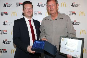 Earls Barton Uniteds Tony Sanders collected the Grounds Team of the Year award