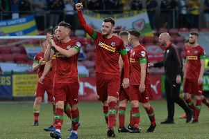 Cliftonville celebrate at the final whistle of a 4-0 home success in the Europa League over Barry Town United. Pic by Pacemaker.