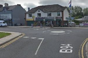 Police say the collision took place close to the mini roundabout at the bottom of Main Street, Ballyclare. Pic by Google.