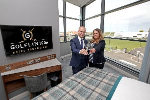 Pictured in one of the new suites are Sam Kennedy, General Manager, The Golf Links Hotel and Madeline Davidson, Assistant Manager