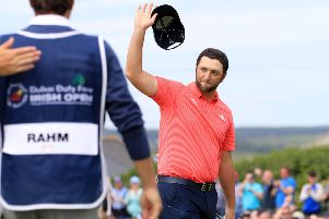 Spain's Jon Rahm at the end of his round during day four of the 2019 Dubai Duty Free Irish Open at Lahinch. Photo credit: Donall Farmer/PA Wire