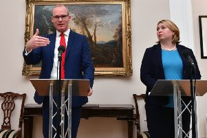 "Simon Coveney and Karen Bradley at Stormont in April. ""The two governments have strived to avoid dealing with crimes, as in their view that is necessary for the political process. Essentially to ignore murder! They failed to resource our criminal justice system to enable it to bring to justice those responsible for those crimes."" 'Photo Colm Lenaghan/Pacemaker Press"