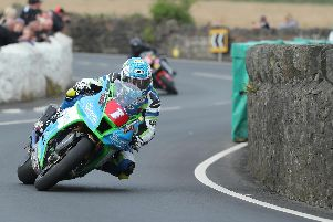 Dean Harrison topped the Superbike times on his Silicone Engineering Kawasaki at the Southern 100 on Tuesday evening. Picture: Dave Kneen/Pacemaker Press.