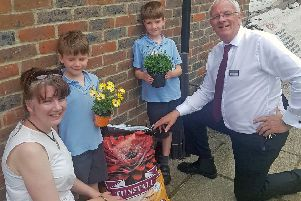 Paul Smythe, branch manager at Old Barn Garden Centre, at St Mary's CE Primary School in Climping