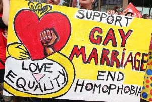 A banner from Belfast's gay pride march in 2016, calling for people to back same-sex unions