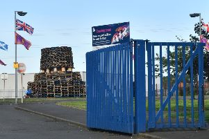 The controversial bonfire at Avoniel leisure centre in east Belfast last week, ahead of being lit on July 11. 'Photo  Pacemaker Press