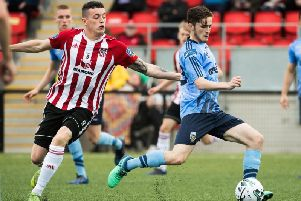 Derry City's David Parkhouse and UCD's Evan Farrell