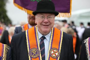 Mervyn Gibson on parade in Donemana