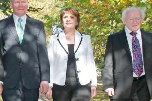 Martin McGuinness, Dana and Michael D. Higgins ahead of the 2011 Presidential election.