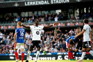 Rosenborg's David Akintolduring celebrates scoring a goal in the 4-0 win in Norway.