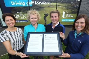 Professor Karise Hutchinson, Provost Ulster University Coleraine campus; Niamh Lamond, UU chief operating officer; Judith Allen, UU Golf Scholar and Sports Studies student; and Jackie Davidson, assistant director - Golf Development at the R&A.