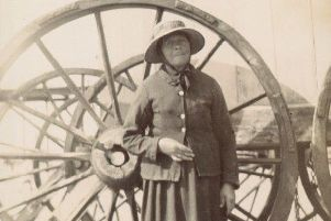 Mary Wheatland stood beside a wheel of her bathing machines ENGSUS00120130620134946