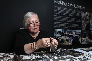Anne Robinson (pictured) adding the finishing touches to the  Game of Thrones Tapestry