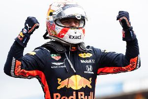 Max Verstappen celebrates his German GP win